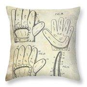 1910 Baseball Glove Patent  Throw Pillow