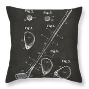 1910 Golf Club Patent Artwork - Gray Throw Pillow