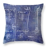1911 Mechanical Skeleton Patent 1 Blue Throw Pillow