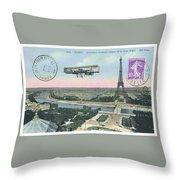 1911 Paris Eiffel Tower Colorized Postcard Throw Pillow