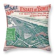 1915 Bronx Lots Sale Flyer Throw Pillow