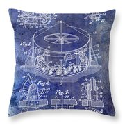 1916 Merry Go Round Patent Blue Throw Pillow