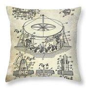 1916 Merry Go Round Patent Throw Pillow