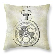 1916 Pocket Watch Patent Throw Pillow