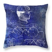 1916 Sunglasses Patent Blue Throw Pillow