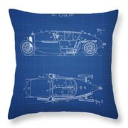 1917 Racing Vehicle Patent - Blueprint Throw Pillow