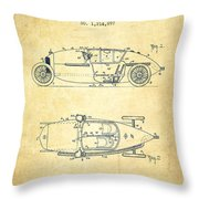 1917 Racing Vehicle Patent - Vintage Throw Pillow