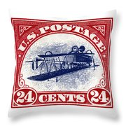 1918 Inverted Jenny Stamp Throw Pillow