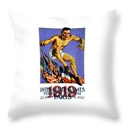 1919 Allied Games Poster Throw Pillow