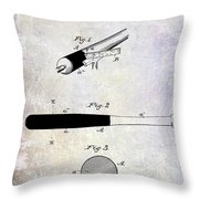 1920 Baseball Bat Patent Throw Pillow