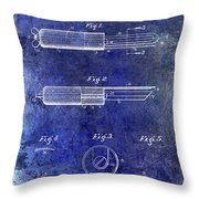 1920 Paring Knife Patent Blue Throw Pillow