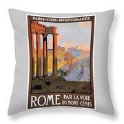 1920 Paris To Rome Train Travel Poster Throw Pillow