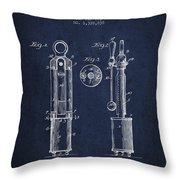 1920 Tuning Fork Patent - Navy Blue Throw Pillow