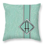 1920s Blue Deco Jazz Swing Monogram ...letter A Throw Pillow