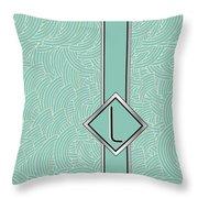 1920s Blue Deco Jazz Swing Monogram ...letter L Throw Pillow
