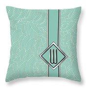 1920s Blue Deco Jazz Swing Monogram ...letter W Throw Pillow