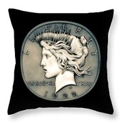 1922 Ghost Peace Dollar Throw Pillow
