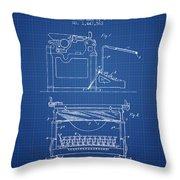 1923 Typewriter Screen Patent - Blueprint Throw Pillow