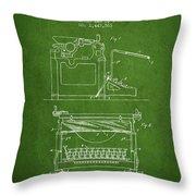 1923 Typewriter Screen Patent - Green Throw Pillow