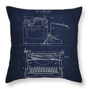 1923 Typewriter Screen Patent - Navy Blue Throw Pillow