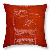 1923 Typewriter Screen Patent - Red Throw Pillow