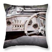 1925 Aston Martin 16 Valve Twin Cam Grand Prix Steering Wheel -0790ac Throw Pillow