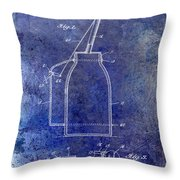1927 Oil Can Patent Blue Throw Pillow