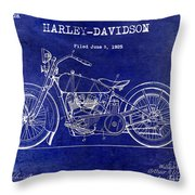 1928 Harley Davidson Patent Drawing Blue Throw Pillow