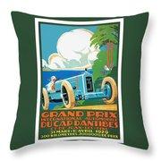 1929 Cap D'antibes Grand Prix Racing Poster Throw Pillow
