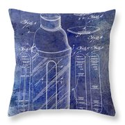 1930 Cocktail Shaker Patent Blue Throw Pillow