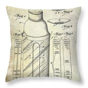 1930 Cocktail Shaker Patent Throw Pillow