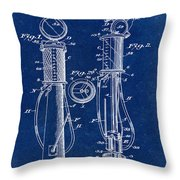 1930 Gas Pump Patent In Blue Throw Pillow
