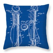 1930 Gas Pump Patent In Blue Print Throw Pillow