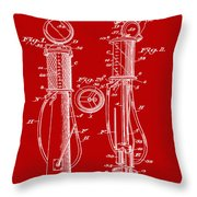 1930 Gas Pump Patent In Red Throw Pillow