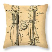 1930 Gas Pump Patent In Sepia Throw Pillow