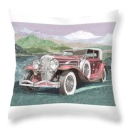 1930 Model J  Duesenberg Throw Pillow