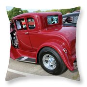 1930 Red Ford Model A-rear-8902 Throw Pillow
