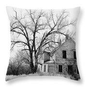 1930's Abandoned Farm House Near Aberdeen South Dakota 1965  Throw Pillow