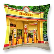 1930s Shell Gas Station Throw Pillow