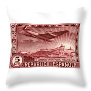 1931 Airplane Over Madrid Spain Stamp Throw Pillow
