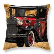 1931 Ford Model A Fire Truck Throw Pillow