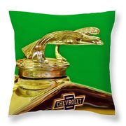 1932 Chevrolet Eagle Hood Ornament Throw Pillow
