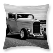 1932 Ford Coupe 'black And White' Throw Pillow