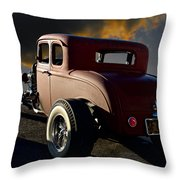 1932 Ford Five Window Coupe 'leaving Town' Throw Pillow