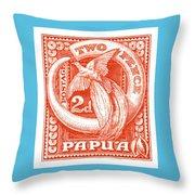 1932 Papua New Guinea Bird Of Paradise Postage Stamp Throw Pillow