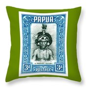 1932 Papua New Guinea Native Dandy Postage Stamp Throw Pillow