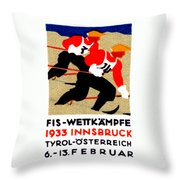 1933 Austrian Ski Race Poster Throw Pillow