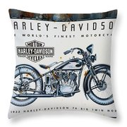 1933 Hd 74 Big Twin Throw Pillow