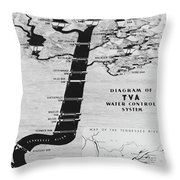 1933 Tennessee Valley Authority Map Throw Pillow