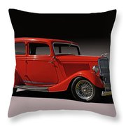 1934 Ford Red Two Door Sedan Throw Pillow